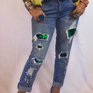 Distressed Mermaid Sequin Mid Rise Denim Jeans